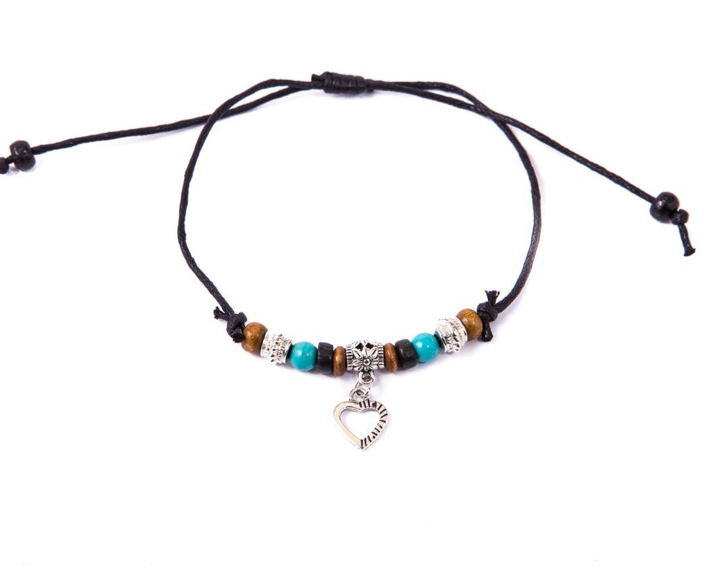Anklet  -  String Cord Heart Charm