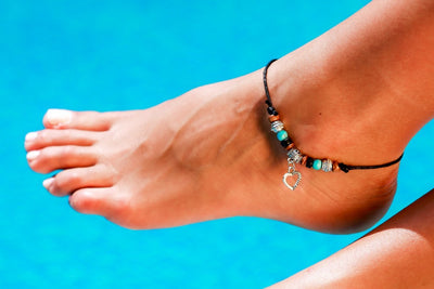 Anklet  -  String Cord Heart Charm - boom-ibiza