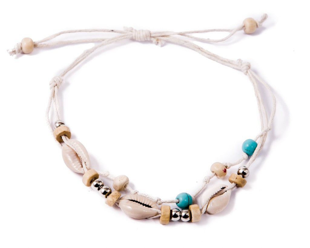 Anklet  -  String Cord White Seashell