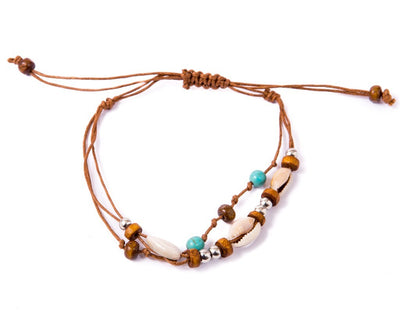 Anklet  -  String Cord Brown Seashell - boom-ibiza