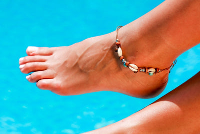 Anklet  -  String Cord Brown Seashell
