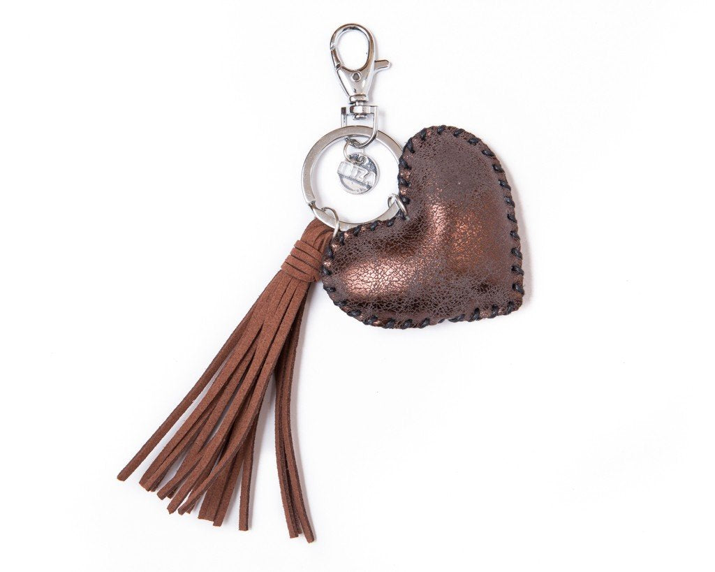 Keychain heart tassel Charm - brown