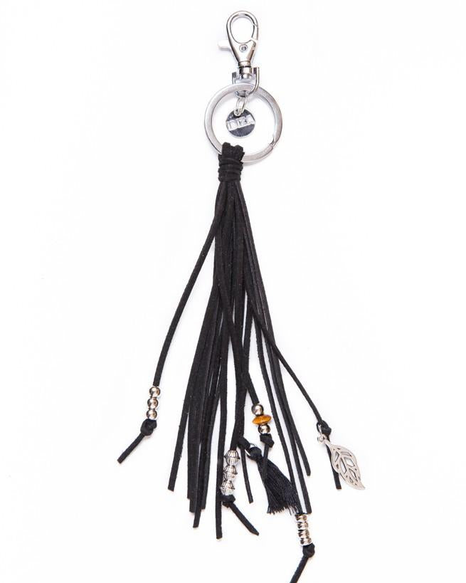 Keychain Leather Stripe - black