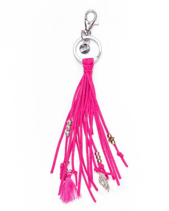 Keychain Leather Stripe - Pink