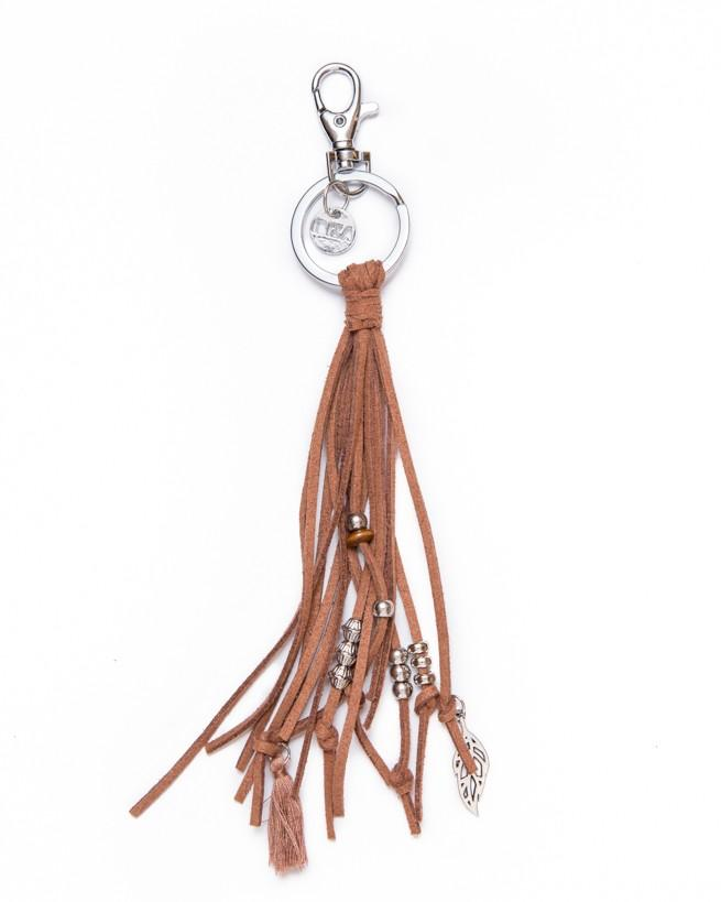Keychain Leather Stripe - brown