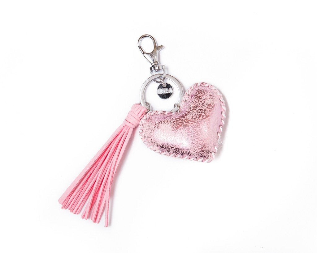 Keychain heart tassel Charm - light pink
