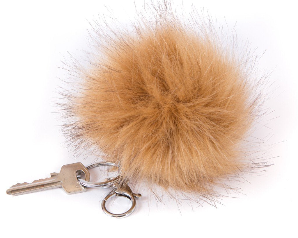 Keychain Furry Pompom Charm - Brown