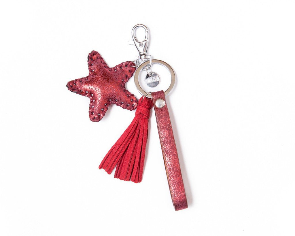 Keychain star tassel Charm - red