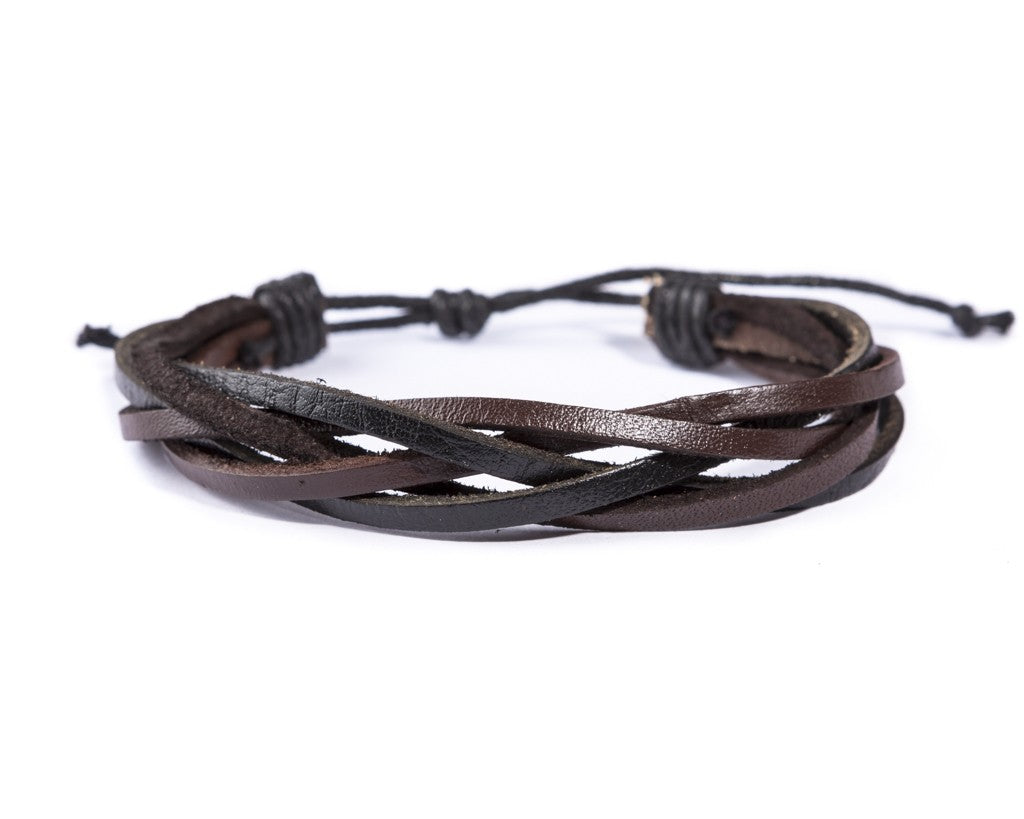 leather bracelet braided loose - mix