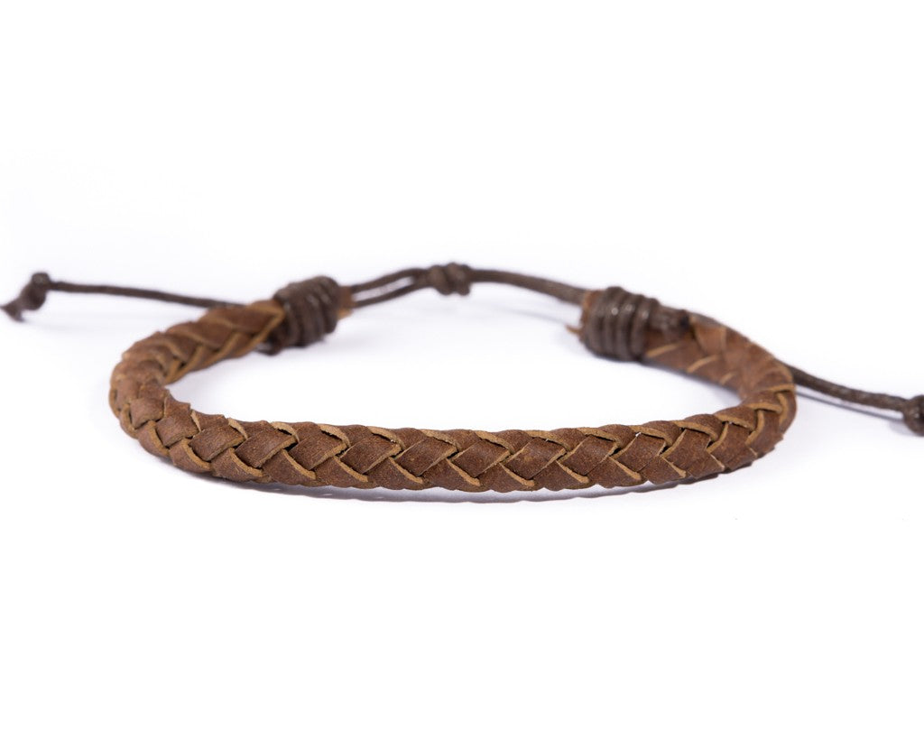 leather bracelet braided - neat brown
