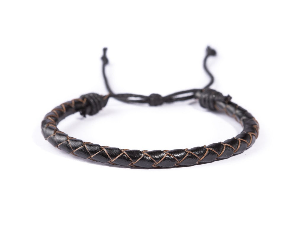 leather bracelet braided - neat black