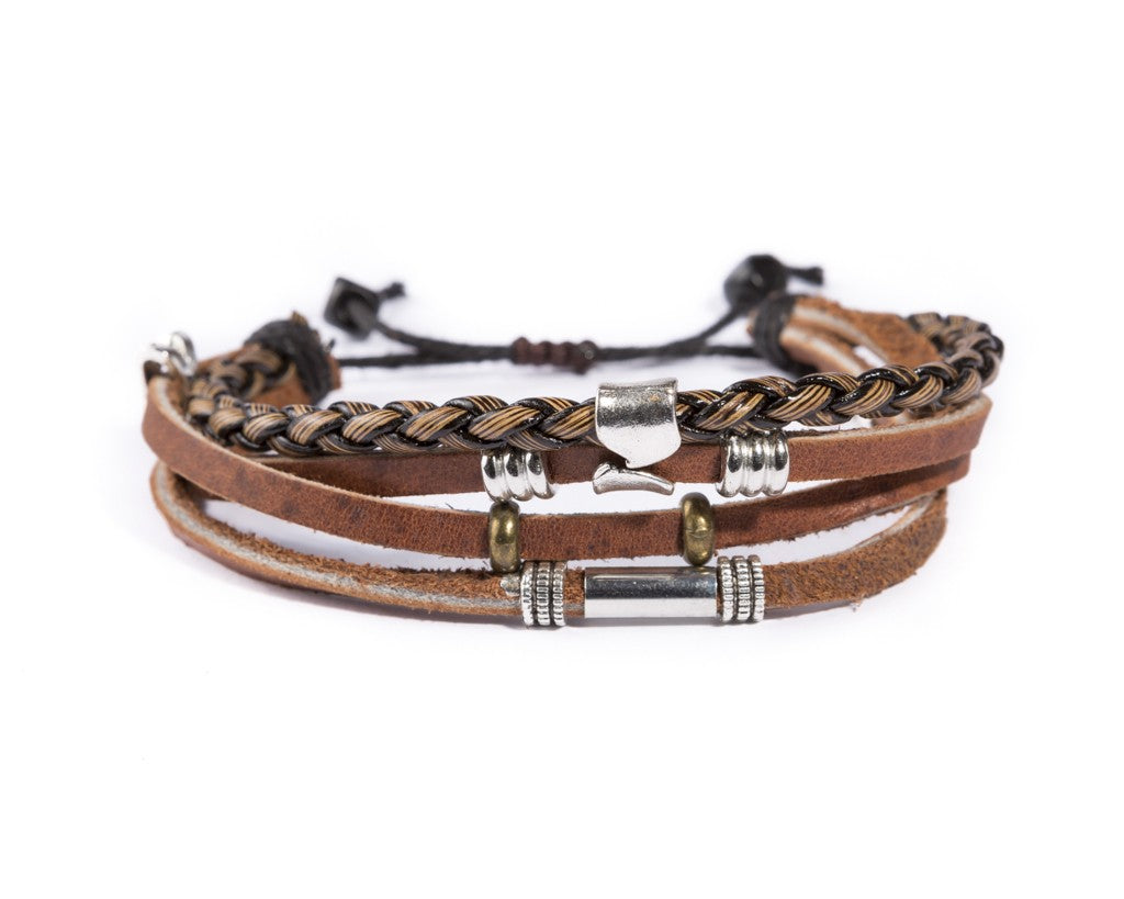 leather multistrand bracelet metallic bead - boom-ibiza
