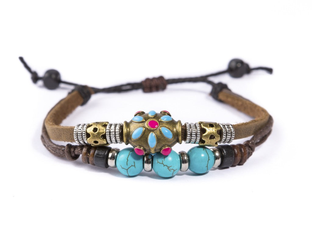 leather bracelet - Ibiza Boho flower charm