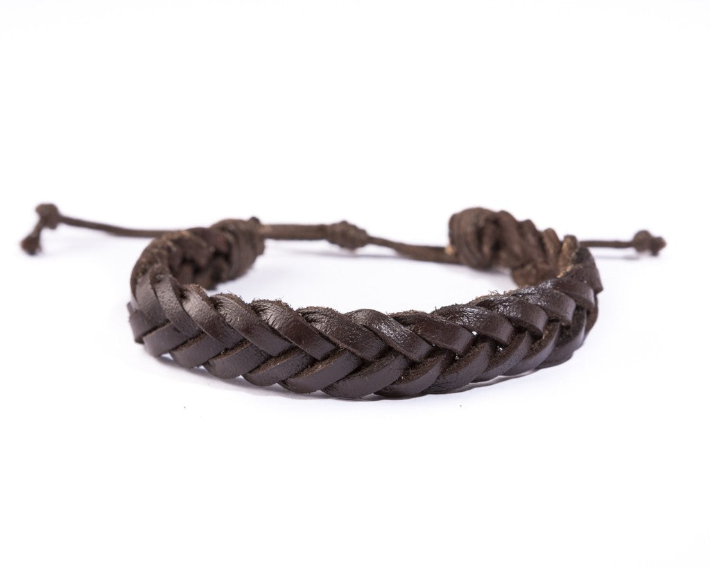 leather bracelet braided - Ibiza classic brown