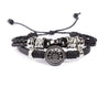 Leather Multistrand Bracelet - Black Flower C - boom-ibiza