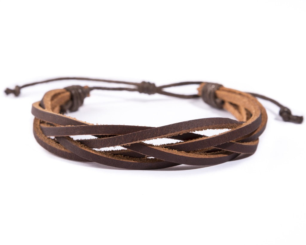 leather bracelet braided loose - light brown