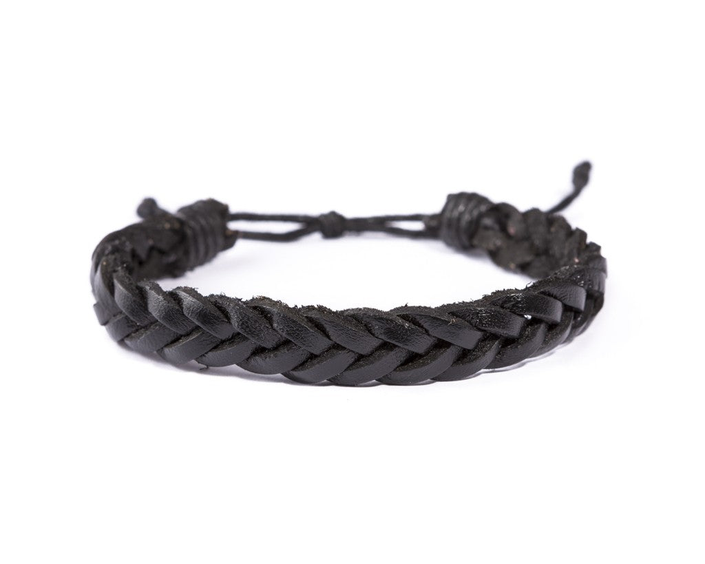 leather bracelet braided - Ibiza classic black