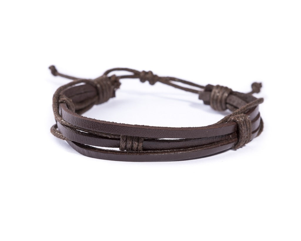 leather bracelet multistrand - brown