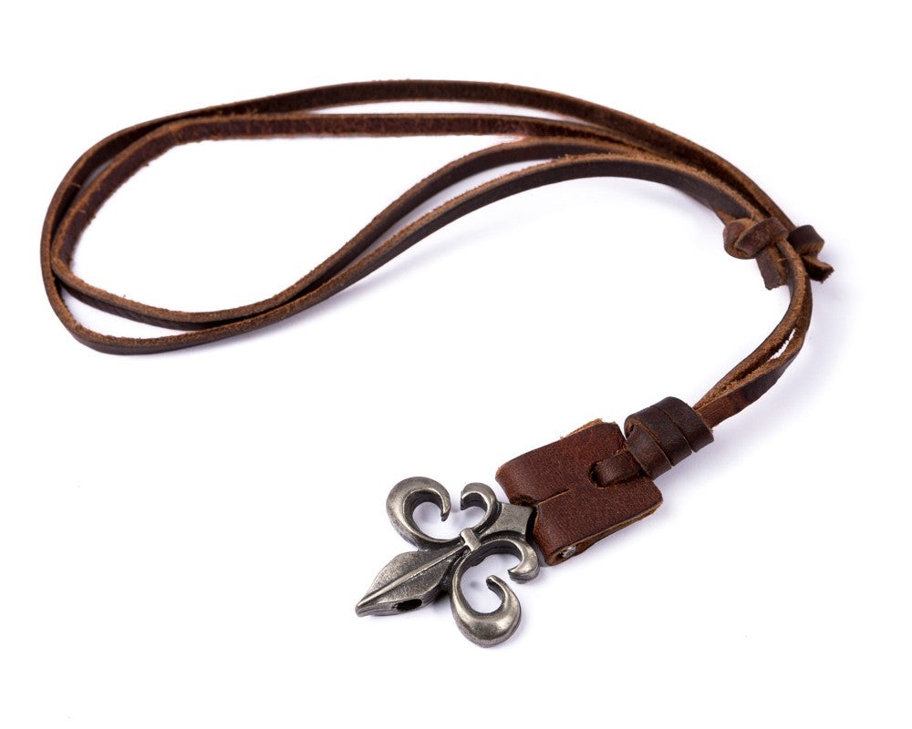 Leather Necklace Spade Charm