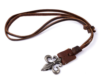 Leather Necklace Spade Charm - boom-ibiza