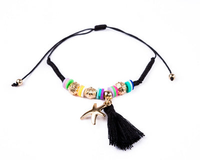 String Tassel Bracelet - black Sea Star - boom-ibiza