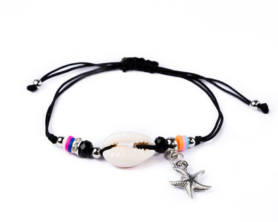 String Seashell Bracelet - Black Sea-Star - boom-ibiza
