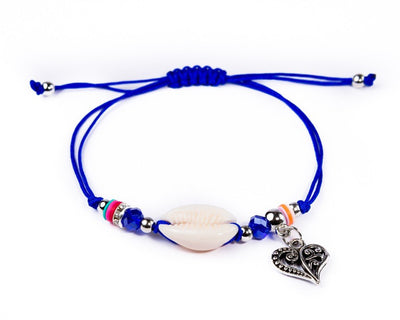 String Seashell Bracelet - Navy Blue Heart - boom-ibiza