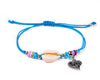 String Seashell Bracelet - Blue Heart - boom-ibiza