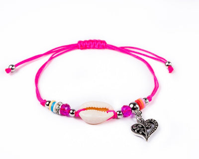 String Seashell Bracelet - Purple Heart - boom-ibiza