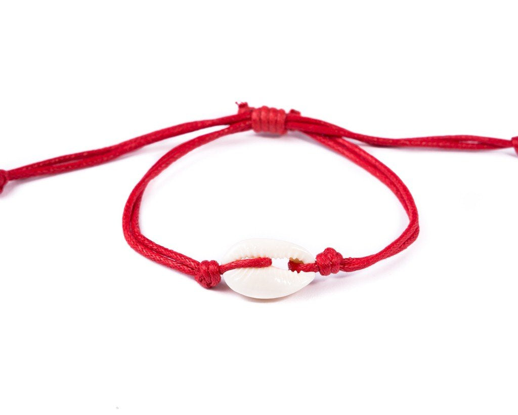 string seashell bracelet red