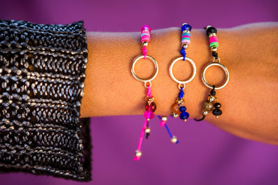 String Charm Bracelet - Pink Coin - boom-ibiza