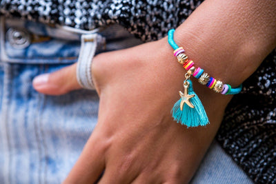 String Tassel Bracelet - White Sea Star - boom-ibiza