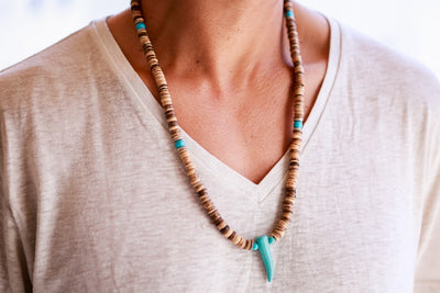 beads necklace wooden disc turquoise tooth - boom-ibiza