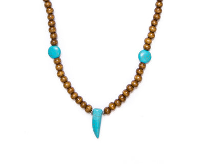 Beads neckalce wooden round beads turquoise tooth - boom-ibiza