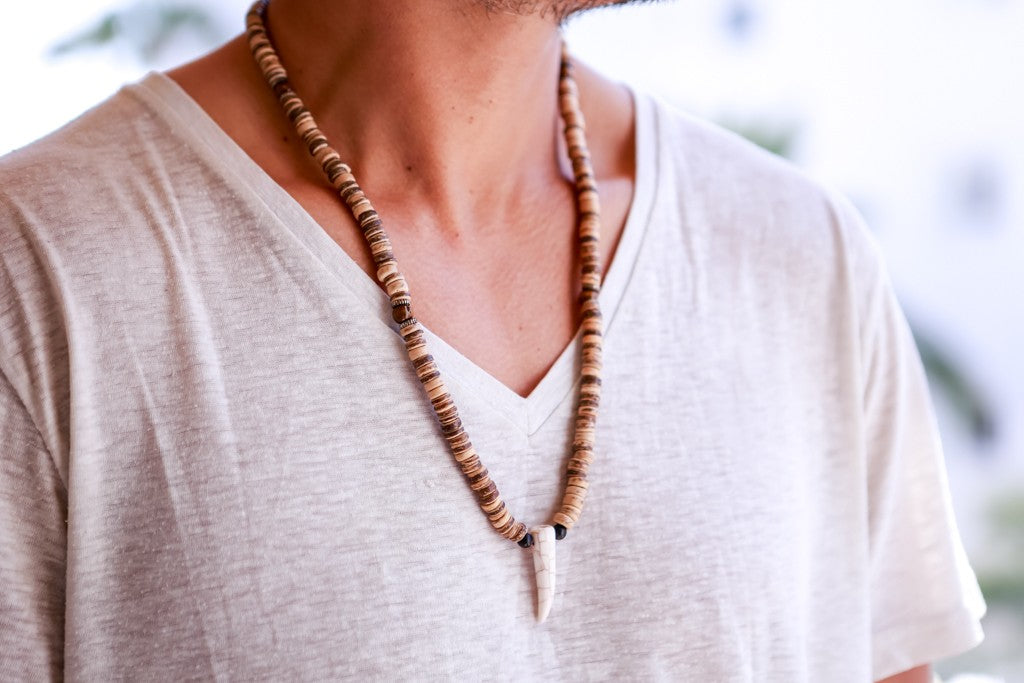beads necklace wooden disc tooth pendant