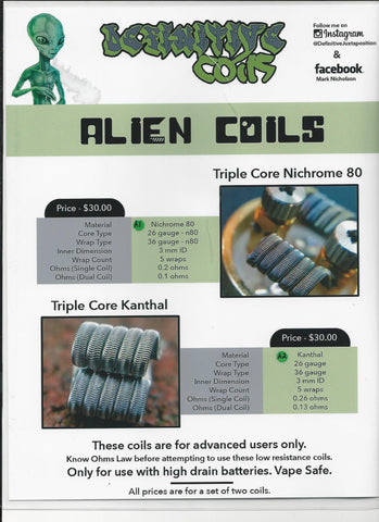 Kanthal / N80 Alien Coils #A2 (Set Of 2) by Definitive Coils