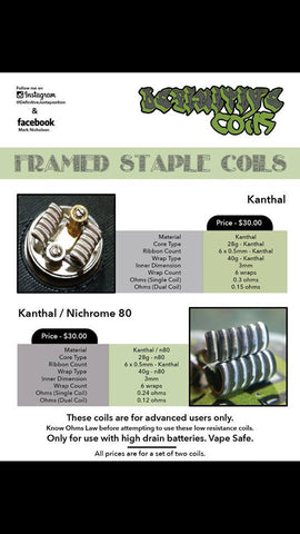Framed Staple Kanthal/N80 #FS1 (Set Of 2) by Definitive Coils