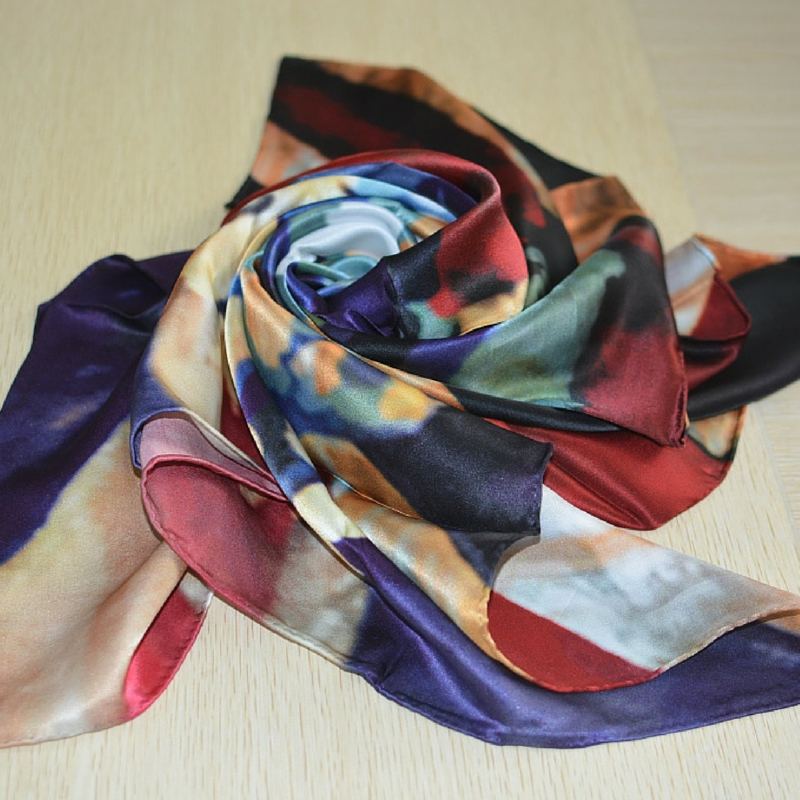 scarf and pocket square 100% silk hand-rolled hand-stitched created by artist Brad Jensen