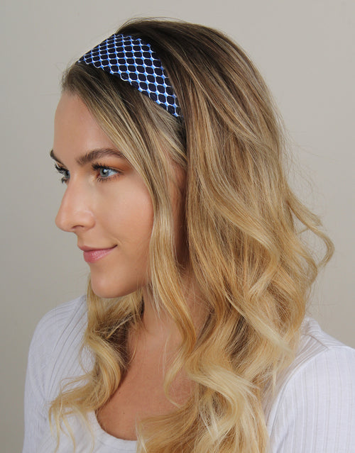 BANDED Women's Premium Headbands + Hair Accessories - Navy Fish Net - Wide Headband