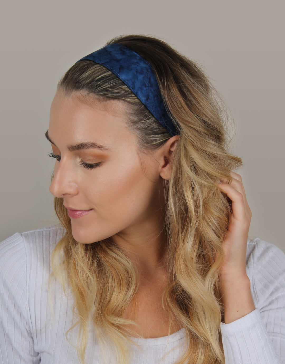 BANDED Women's Premium Headbands + Hair Accessories - Indigo Marble - Wide Headband
