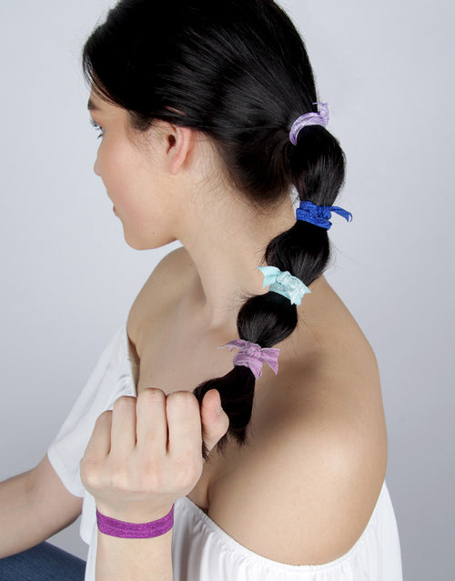 BANDED Women's Hair Ties + Accessories - Giverny Pansy - Classic Shimmer Hair Ties