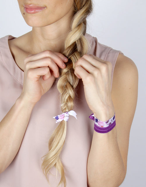 BANDED Women's Hair Ties + Accessories - Purple Pansy - Classic Hair Ties