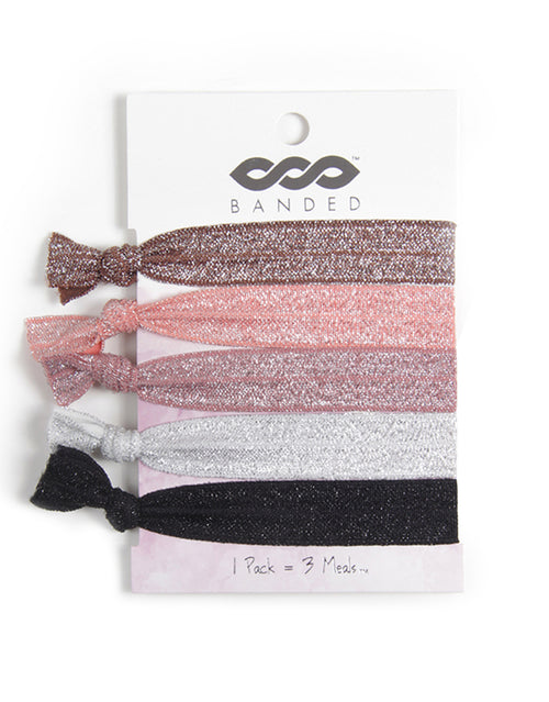 BANDED Women's Hair Ties + Accessories - Neutral Shimmer - Classic Hair Tie Pack