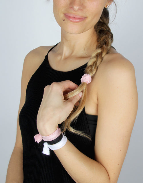 BANDED Women's Hair Ties + Accessories - Blush Noir - Shirred Classic Hair Ties