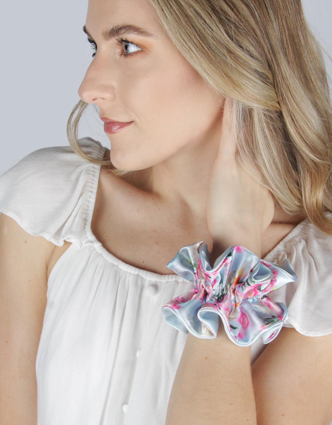 BANDED Women's Premium Hair Accessories - Peony Splendor - Reversible Scruffle Scrunchie