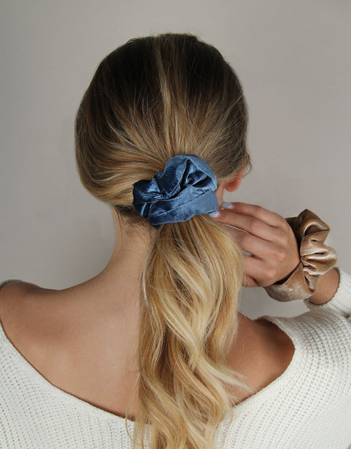 BANDED Women's Premium Hair Accessories - Blue Jean - 2 Pack Scrunchies