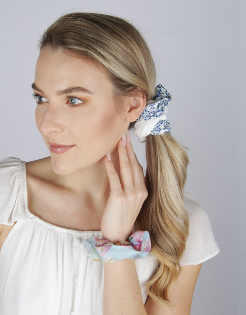 BANDED Women's Premium Hair Accessories - Peony Splendor - 3 Pack Knit Scrunchies