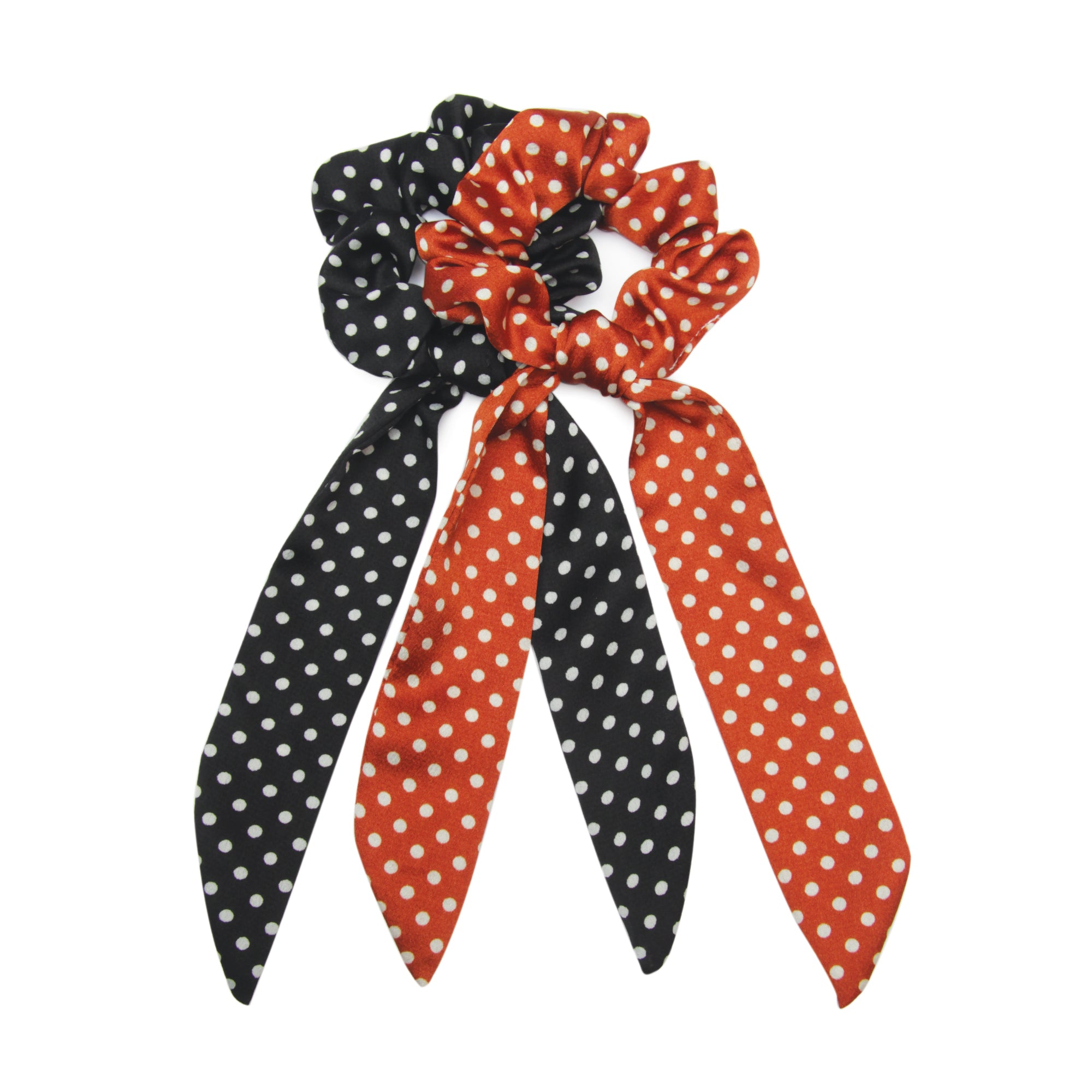 Polka Dot Noir - 2 Pack Ponytail Scarves