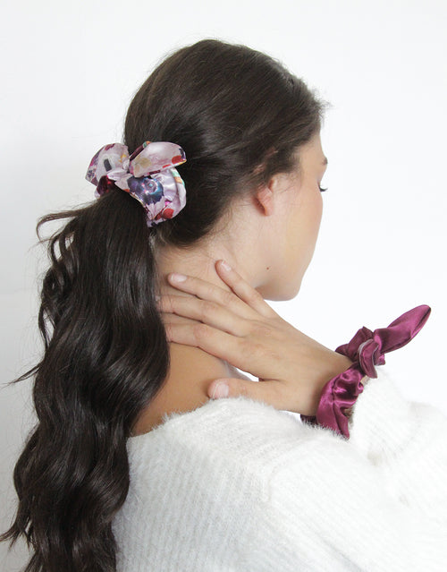BANDED Women's Premium Hair Accessories - Hampton Garden - 2 Pack Bow Scrunchies