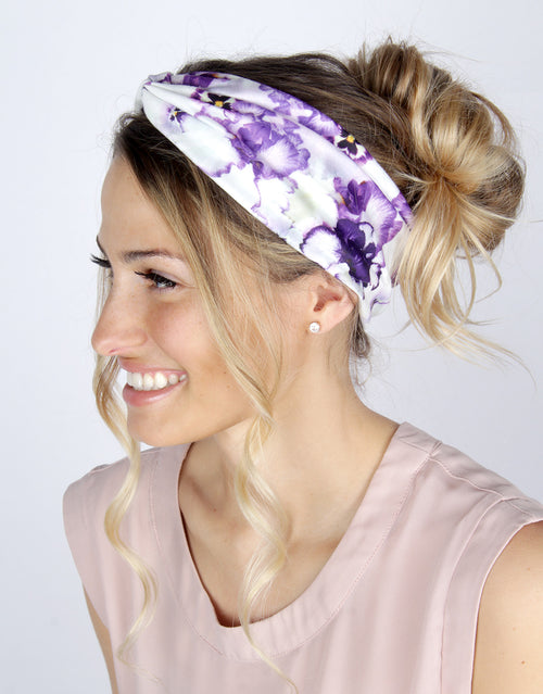 BANDED Women's Headwraps + Hair Accessories - Giverny Pansy - Classic Twist Headwrap